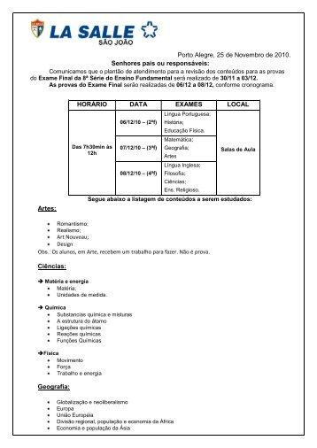 8ª série do Ensino Fundamental - Portal La Salle