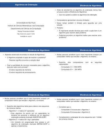 Aulas de Ordenação - ICMC - USP