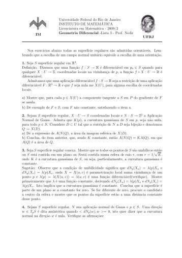 2009/2 Geometria Diferencial - Instituto de Matemática - UFRJ