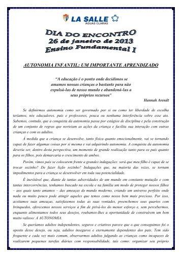 Autonomia Infantil: Um importante aprendizado - La Salle Águas ...