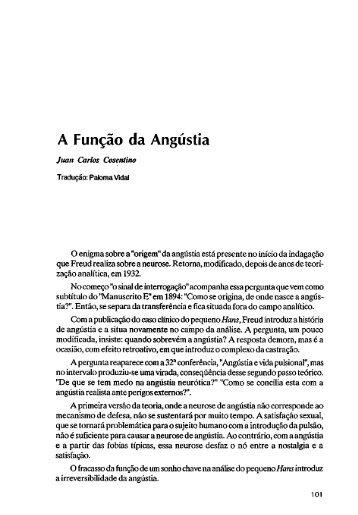A Função da Angústia - Escola Letra Freudiana
