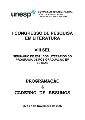 PROGRAMAÇÃO & CADERNO DE RESUMOS - Unesp