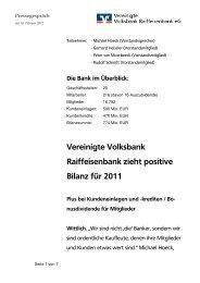 Vereinigte Volksbank Raiffeisenbank zieht positive Bilanz für 2011