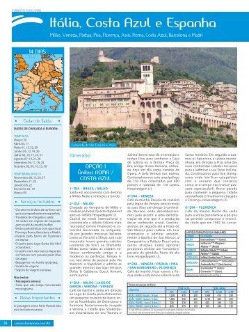 Título de Página Itália, Costa azul e espanha - Lusanova