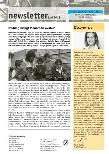 Bildung bringt Menschen weiter! newsletterjuni 2011 - Vivamos Mejor