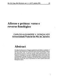 Aférese e prótese - Revista de Estudos da Linguagem