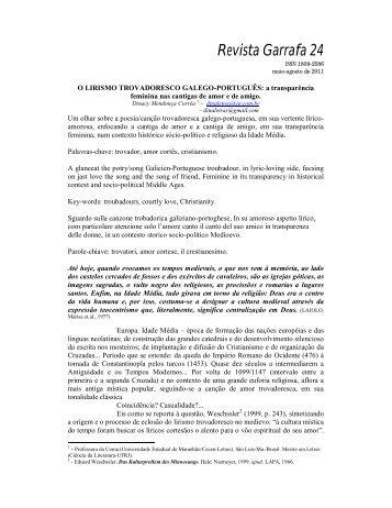 O lirismo trovadoresco galego-português - Faculdade de Letras ...