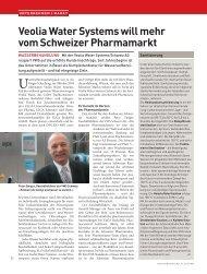 Veolia Water Systems will mehr vom Schweizer Pharmamarkt