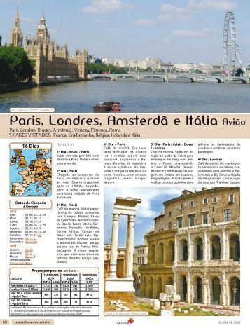 paris, Londres, amsterdã e Itália avião amesterd - Lusanova
