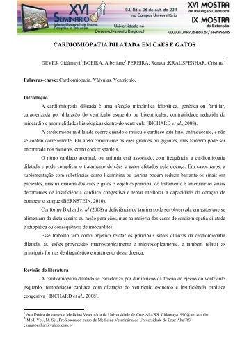 CARDIOMIOPATIA DILATADA EM CÃES E GATOS - Unicruz