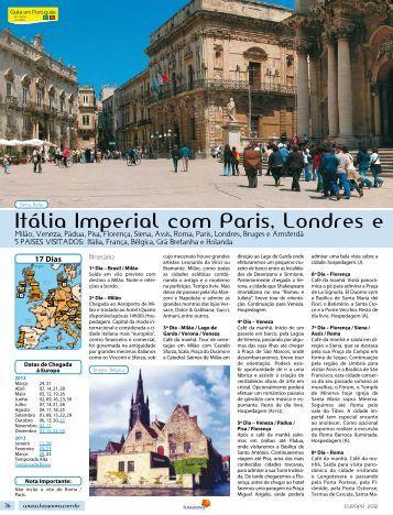 Itália Imperial com Paris, Londres e Amsterdã (Avião de ... - Lusanova