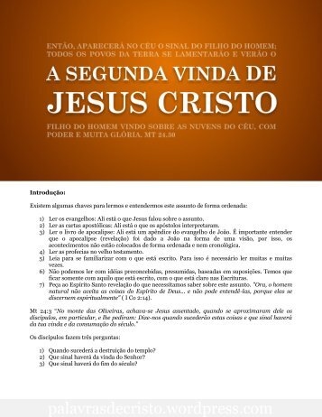 A Segunda vinda de Jesus Cristo - Blog Palavras de Cristo
