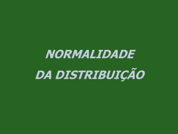NORMALIDADE DA DISTRIBUIÇÃO - CFH