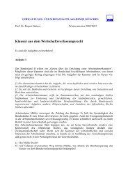 Klausur aus dem Wirtschaftsverfassungsrecht - VWA München