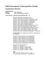 VWA-Vorlesungsorte, Vorlesungszeiten, Hörsäle - VWA München