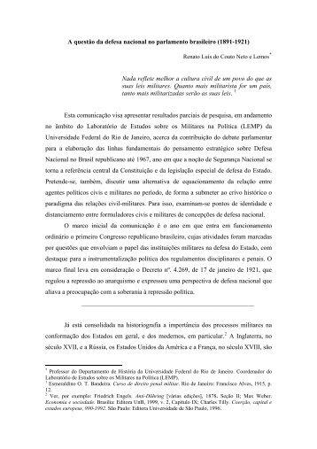 A questão da defesa nacional no parlamento brasileiro - IFCS