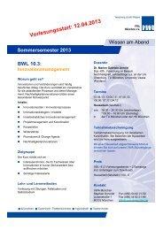 Vorlesungsstart: 12.04.2013 - VWA München
