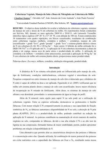 1 INTRODUÇÃO - Associação Brasileira de Milho e Sorgo