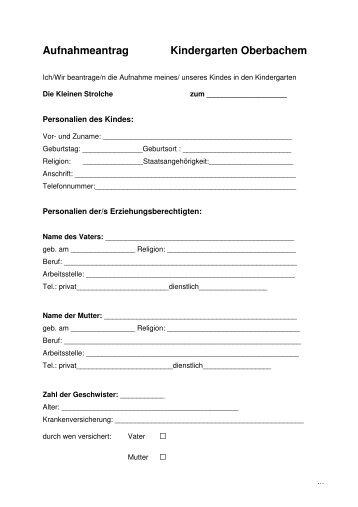 Aufnahmeantrag Die Kleinen Strolche Oberbachem - Gemeinde ...