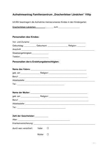 Aufnahmeantrag Familienzentrum Villip - Gemeinde Wachtberg
