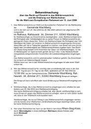 Bekanntmachung zur Europawahl - Gemeinde Wachtberg