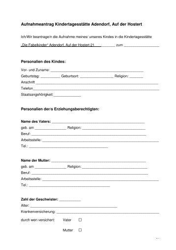 Aufnahmeantrag Kindergarten Adendorf - Gemeinde Wachtberg