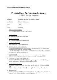 Protokoll der 76. Vorstandssitzung - Wachtelburg
