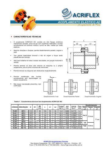 Catalogo Acoplamentos Acrifex AD - ACRIFLEX - Acoplamentos ...