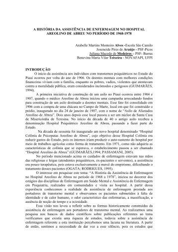 A HISTÓRIA DA ASSISTÊNCIA DE ENFERMAGEM NO ... - Novafapi