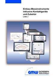 Einbau-Messinstrumente inklusive Kontaktgeräte ... - Wagner GmbH
