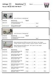 Anfrage Bestellung - Wagner GmbH