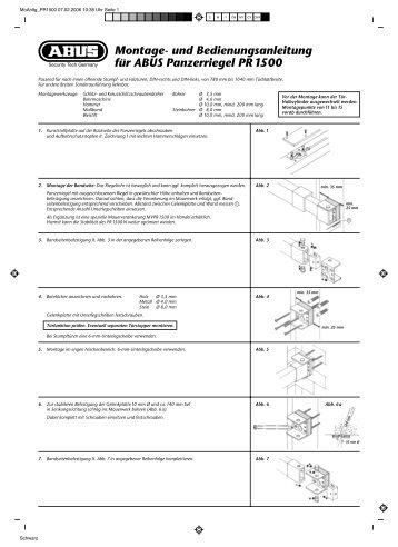 Montage- und Bedienungsanleitung für ABUS Panzerriegel PR 1500