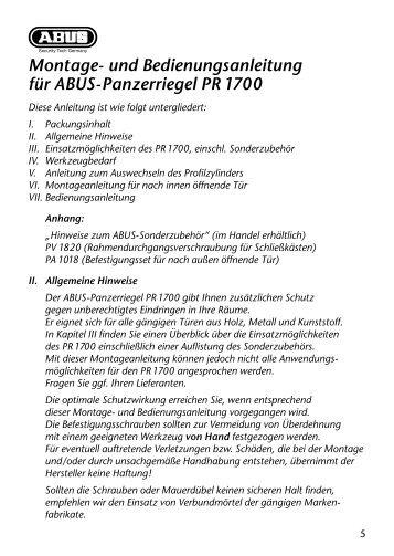 Montage- und Bedienungsanleitung für ABUS-Panzerriegel PR 1700