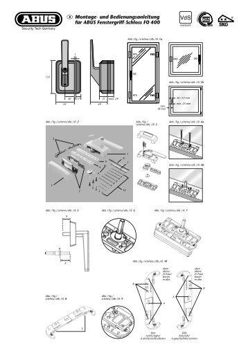 und Bedienungsanleitung für ABUS Fenstergriff-Schloss FO 400 - Skg