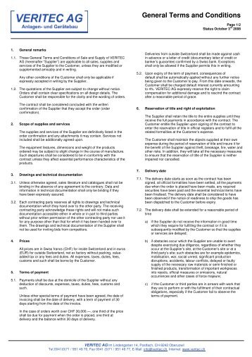 General Terms and Conditions - veritec.ch