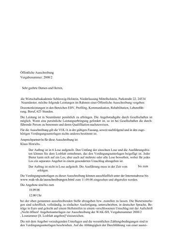 Öffentliche Ausschreibung Vergabenummer: 2008/2 Sehr geehrte ...