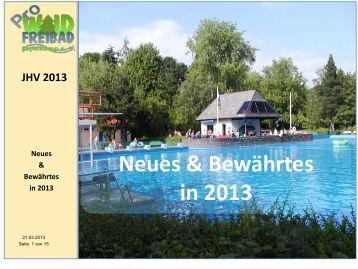 Neues & Bewährtes in 2013 - Waldfreibades Espelkamp