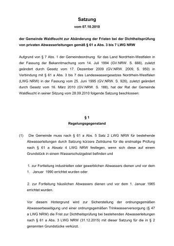 Satzung - Gemeinde Waldfeucht