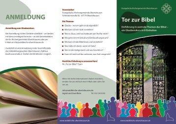 Flyer Tor zur Bibel - Waldkirche Obertshausen