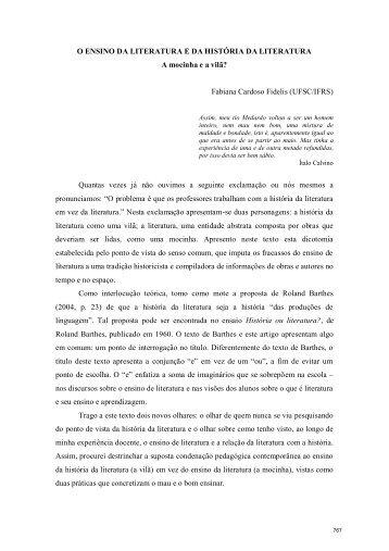 O ENSINO DA LITERATURA E DA HISTÓRIA DA ... - pucrs