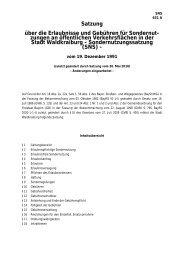 Satzung über die Erlaubnisse und Gebühren für Sondernutzungen