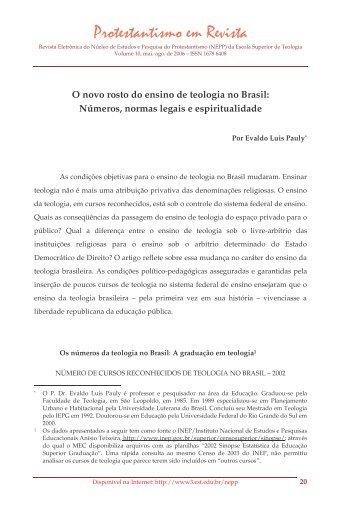 O novo rosto do ensino de teologia no Brasil ... - Faculdades EST