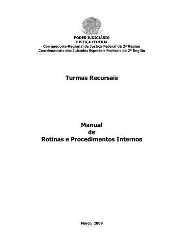 Turmas Recursais Manual de Rotinas e Procedimentos Internos - TRF