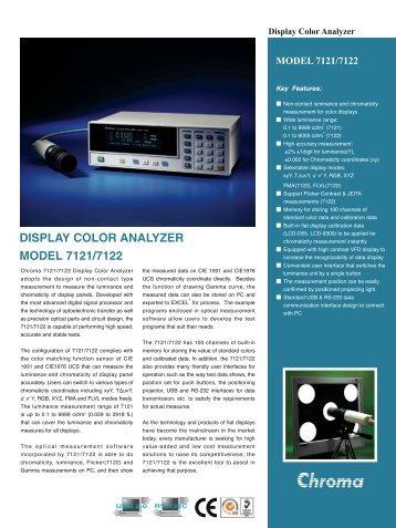 DISPLAY COLOR ANALYZER MODEL 7121/7122