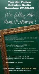 Tag der Freien Schulen Berlin Sonntag, 27.09.09 - Waldorf.net