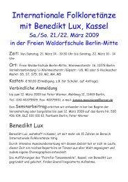 Internationale Folkloretänze mit Benedikt Lux, Kassel - Waldorf.net