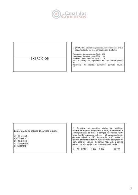 1 EXERCÍCIOS - Canal dos Concursos