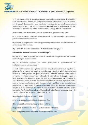 Lista de exercícios de Filosofia - 4º Bimestre - 3º Ano ... - ALUB