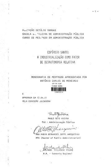 """1 JJ \ t~C""""t~V\~ tL - Sistema de Bibliotecas da FGV"""