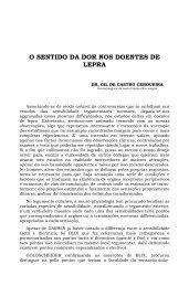 O SENTIDO DA DOR NOS DOENTES DE LEPRA